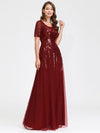 Women'S Fashion Round Neckline Floor Length Evening Dress-Burgundy 10