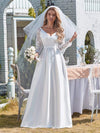 Elegant Simple Satin Wedding Gown With Lace Long Sleeves-White 1