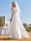 Elegant Simple Satin Wedding Gown With Lace Long Sleeves-White 3