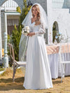 Elegant Simple Satin Wedding Gown With Lace Long Sleeves-White 4