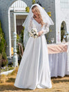 Elegant Simple Satin Wedding Gown With Lace Long Sleeves-White 5