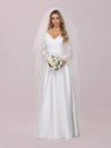 Elegant Simple Satin Wedding Gown With Lace Long Sleeves-White 7