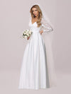 Elegant Simple Satin Wedding Gown With Lace Long Sleeves-White 8