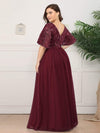 V-Neck Ruffle Sleeve Embroidery Tulle Bridesmaid Dress-Burgundy 7