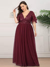 V-Neck Ruffle Sleeve Embroidery Tulle Bridesmaid Dress-Burgundy 6