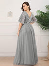 V-Neck Ruffle Sleeve Embroidery Tulle Bridesmaid Dress-Grey 7