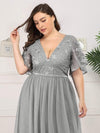 Plus Size V-Neck Ruffle Sleeve Embroidery Tulle Bridesmaid Dress-Grey 10