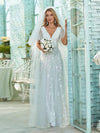 Simple Maxi Floral Lace Wedding Dress With Deep V Neck-White 2