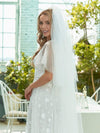 Simple Maxi Floral Lace Wedding Dress With Deep V Neck-White 3