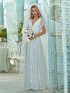 Simple Maxi Floral Lace Wedding Dress With Deep V Neck-White 1