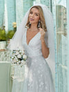 Simple Maxi Floral Lace Wedding Dress With Deep V Neck-White 4