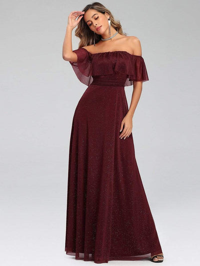 Fashion Off Shoulder Pleated Evening Dress