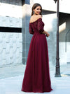 Fashion Off Shoulder A-Line Lace Formal Tulle Evening Dresses-Burgundy 2