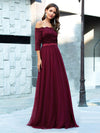 Fashion Off Shoulder A-Line Lace Formal Tulle Evening Dresses-Burgundy 3