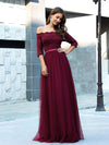 Fashion Off Shoulder A-Line Lace Formal Tulle Evening Dresses-Burgundy 4