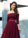 Fashion Off Shoulder A-Line Lace Formal Tulle Evening Dresses-Burgundy 5