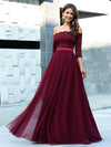 Fashion Off Shoulder A-Line Lace Formal Tulle Evening Dresses-Burgundy 1