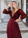 Women'S Sexy V-Neck Long Sleeve Evening Dress-Burgundy 4
