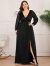 Women'S Sexy V-Neck Long Sleeve Evening Dress-Black 5