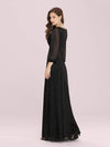 Women'S Sexy V-Neck Long Sleeve Evening Dress-Black 2