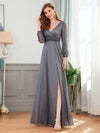 Women'S Sexy V-Neck Long Sleeve Evening Dress-Grey 1