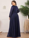 Plus Size Women'S Sexy V-Neck Long Sleeve Evening Dress-Navy Blue 2