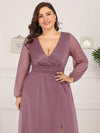 Women'S Sexy V-Neck Long Sleeve Evening Dress-Purple Orchid 5