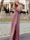 Women'S Sexy V-Neck Long Sleeve Evening Dress-Purple Orchid 1
