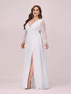 Women'S Sexy V-Neck Long Sleeve Evening Dress-White 5