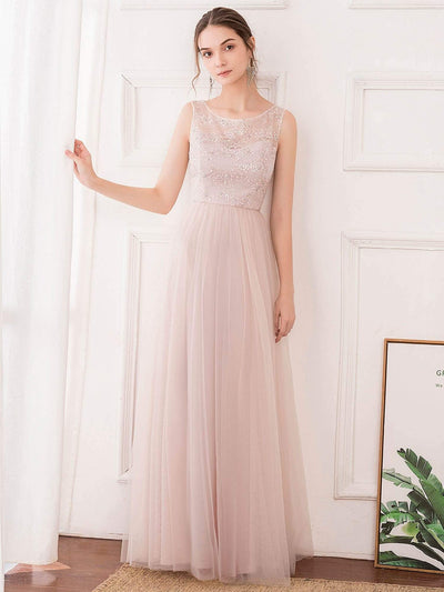 Romantic A-Line O-Neck Embroidery Tulle Bridesmaid Dress