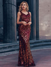 Sexy Deep V Neck Mermaid Evening Dress With Sequin-Burgundy 5