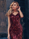 Sexy Deep V Neck Mermaid Evening Dress With Sequin-Burgundy 6