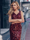 Sexy Deep V Neck Mermaid Evening Dress With Sequin-Burgundy 7