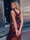 Sexy Deep V Neck Mermaid Evening Dress With Sequin-Burgundy 8