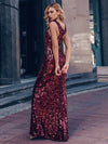 Sexy Deep V Neck Mermaid Evening Dress With Sequin-Burgundy 9