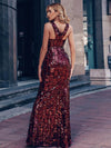 Sexy Deep V Neck Mermaid Evening Dress With Sequin-Burgundy 10