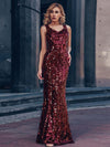 Sexy Deep V Neck Mermaid Evening Dress With Sequin-Burgundy 4