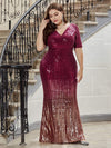 Women's Fashion V Neck Plus Size Mermaid Sequin Evening Dress-Burgundy 4