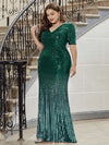 Women's Fashion V Neck Plus Size Mermaid Sequin Evening Dress-Dark Green 3