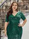 Women's Fashion V Neck Plus Size Mermaid Sequin Evening Dress-Dark Green 5