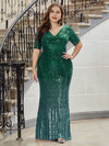 Women's Fashion V Neck Plus Size Mermaid Sequin Evening Dress-Dark Green 1
