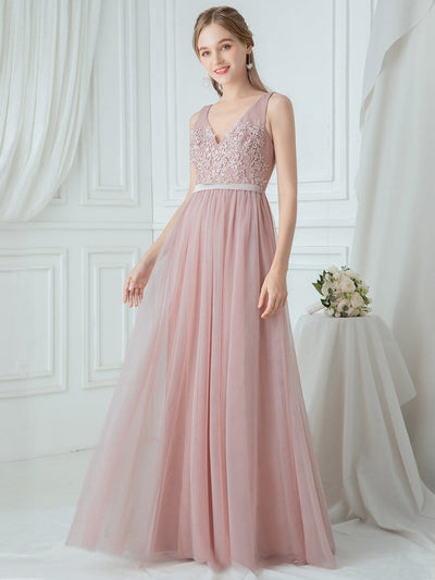 V-Neck Floor Length Appliqued Tulle Bridesmaid Dress