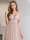 Fashion V Neckline A-Line Tulle Bridesmaid Dresses with Floral Appliques-5