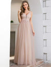 Fashion V Neckline A-Line Tulle Bridesmaid Dresses with Floral Appliques-1