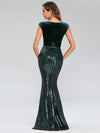 Fashion Mermaid Sequin & Velvet Prom Dresses For Women-Dark Green 2