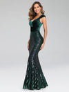 Fashion Mermaid Sequin & Velvet Prom Dresses For Women-Dark Green 3