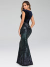 Fashion Mermaid Sequin & Velvet Prom Dresses For Women-Navy Blue 2