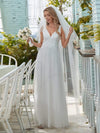 Romantic V Neck Tulle Wedding Dress With Appliques-Cream 1