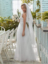 Romantic V Neck Tulle Wedding Dress With Appliques-Cream 2