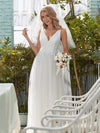 Romantic V Neck Tulle Wedding Dress With Appliques-Cream 3